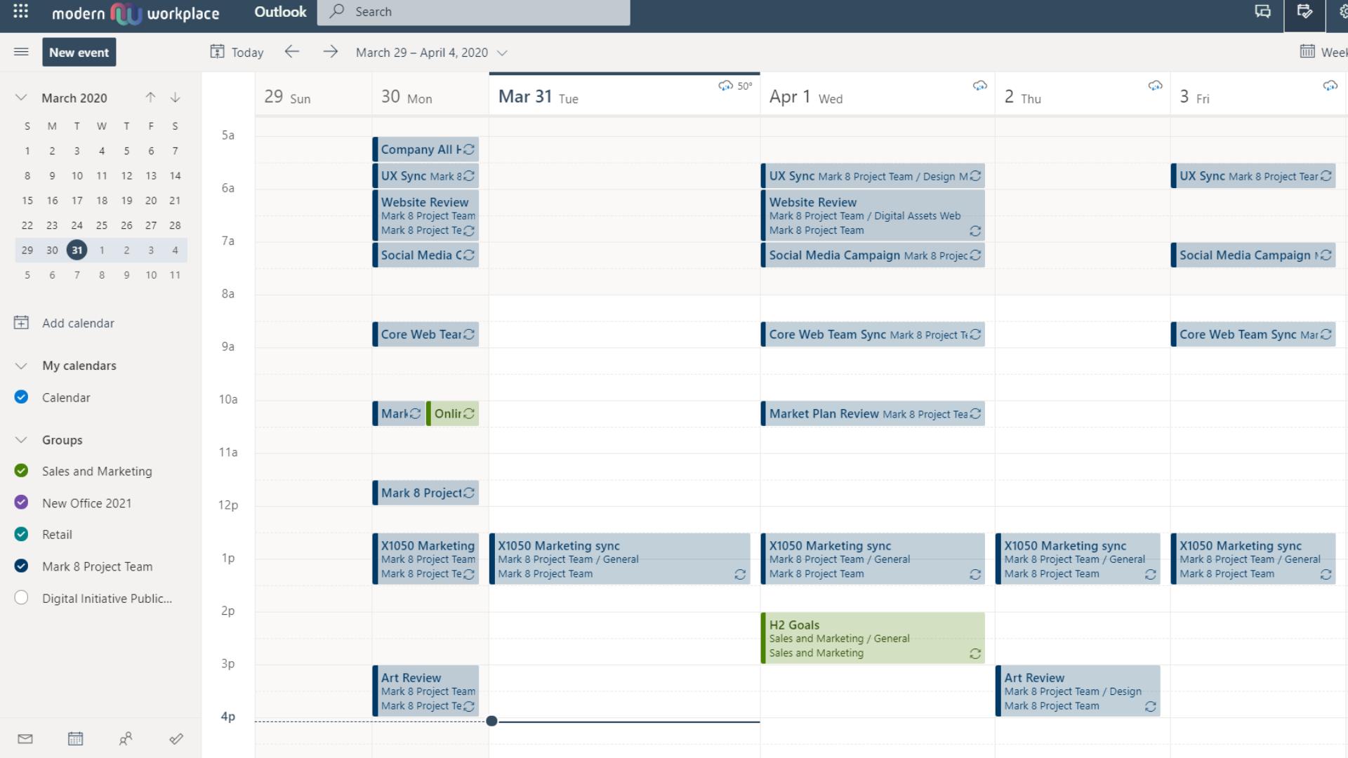 Outlook on the Web Calendar