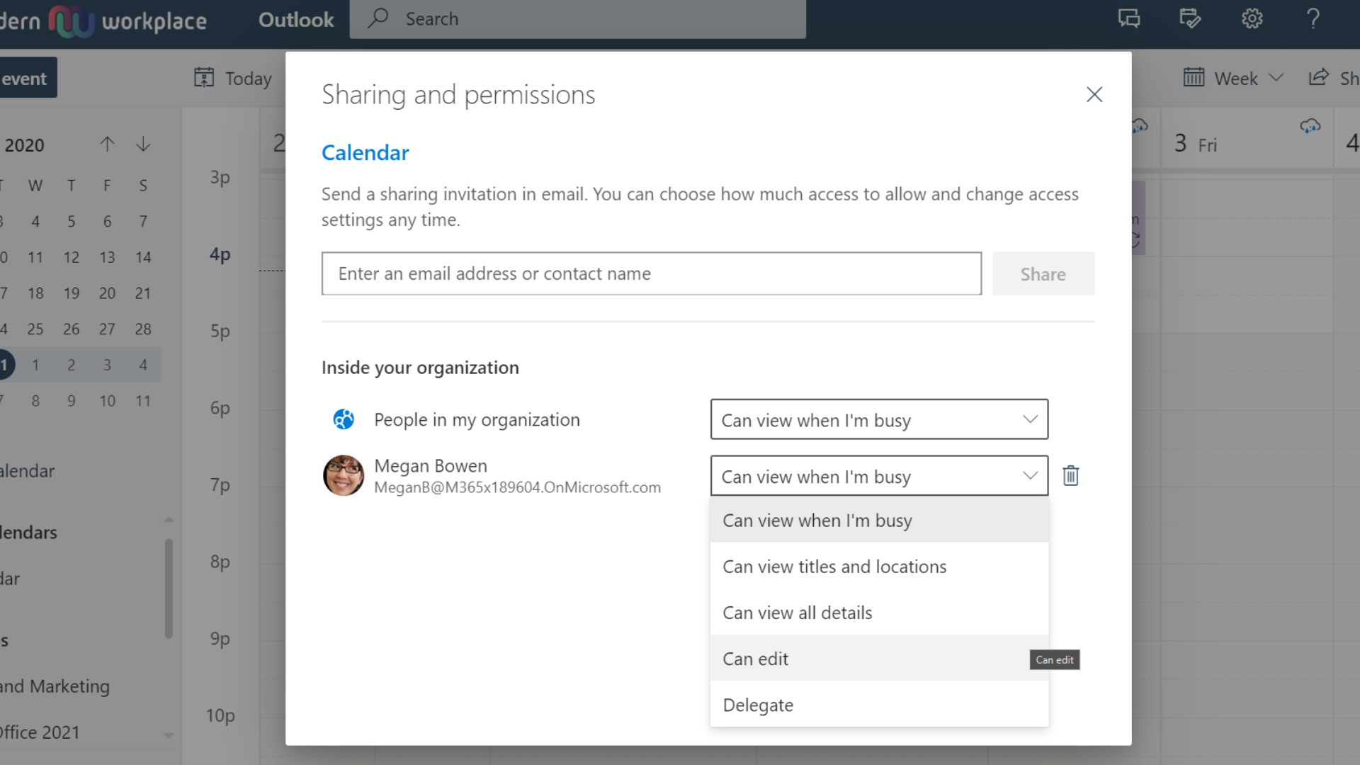 Outlook Calendar Sharing permissions