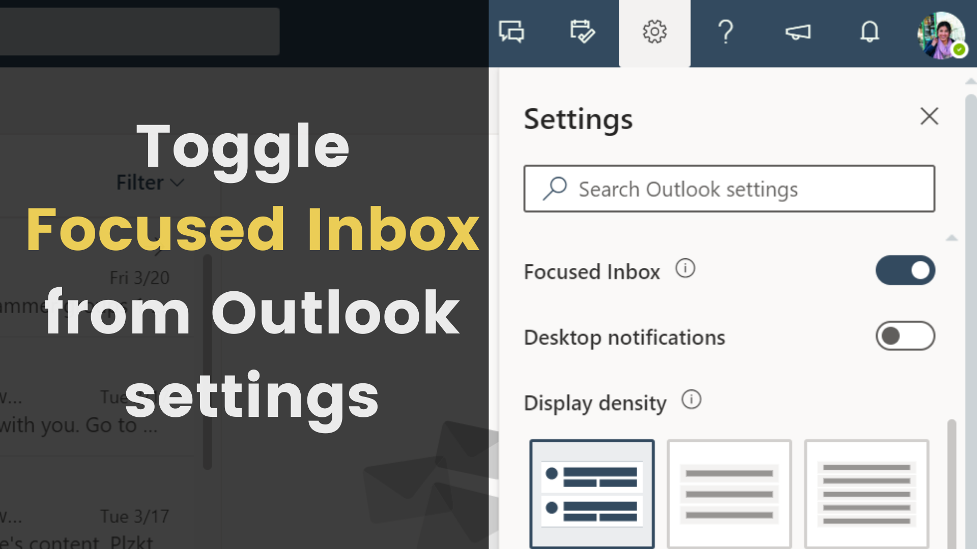 Toggle focused inbox in outlook on the web