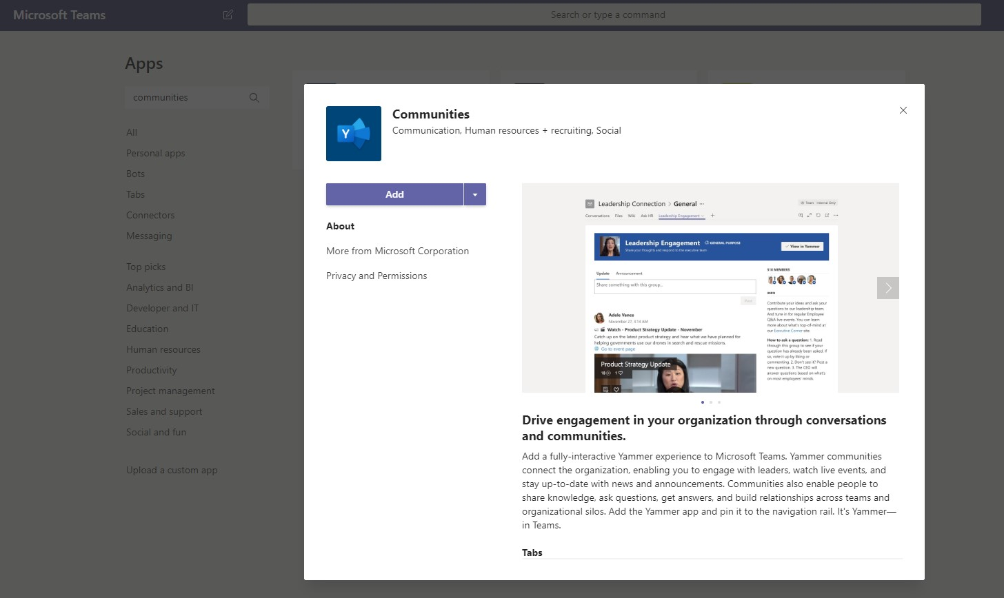 Yammer Communities App