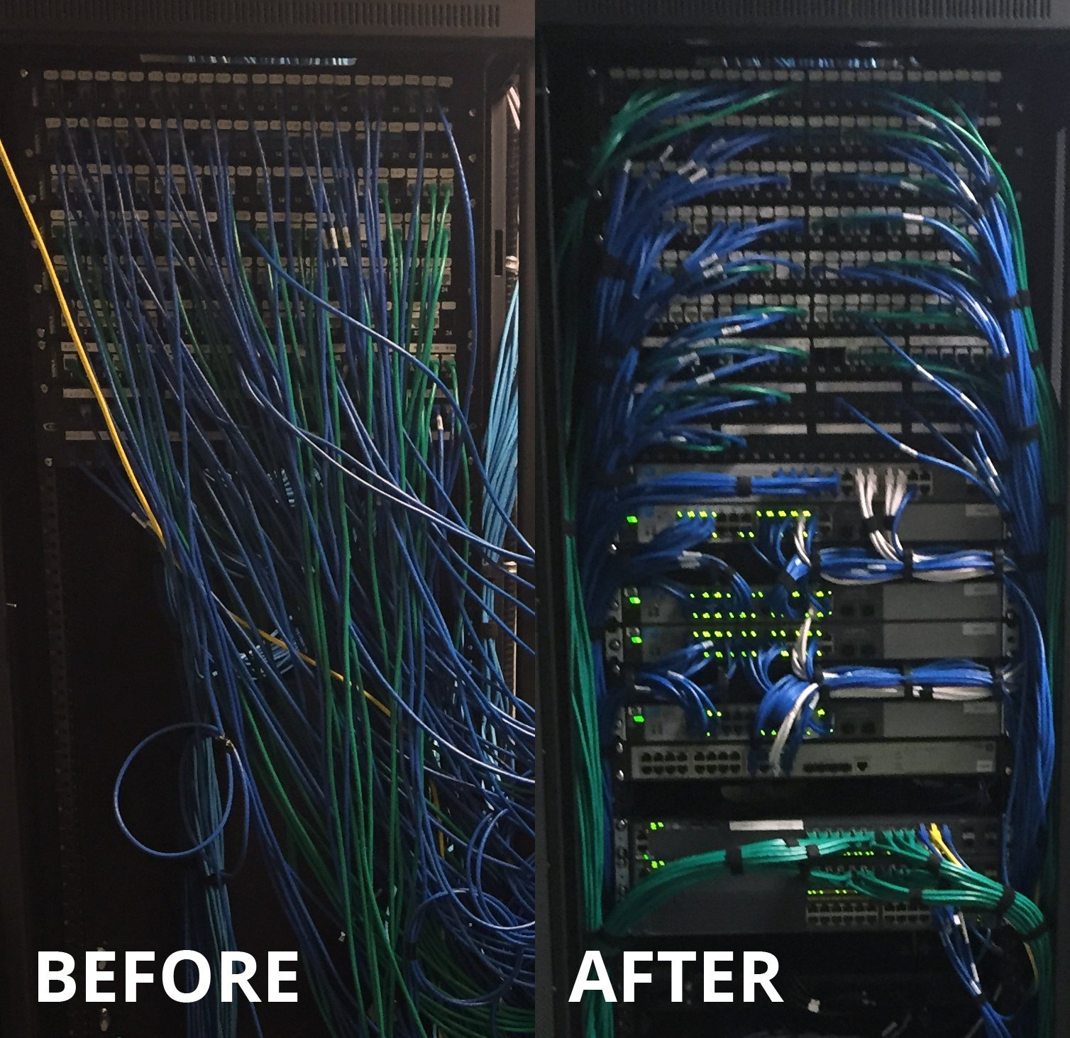 Winnipeg Network Cabling Before and After