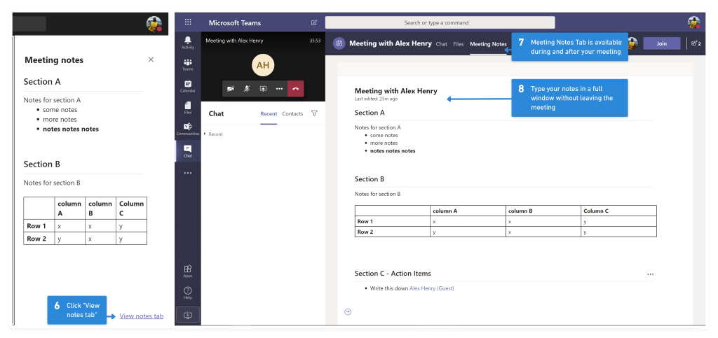 Screenshot of the Meeting Notes tab in Microsoft Teams