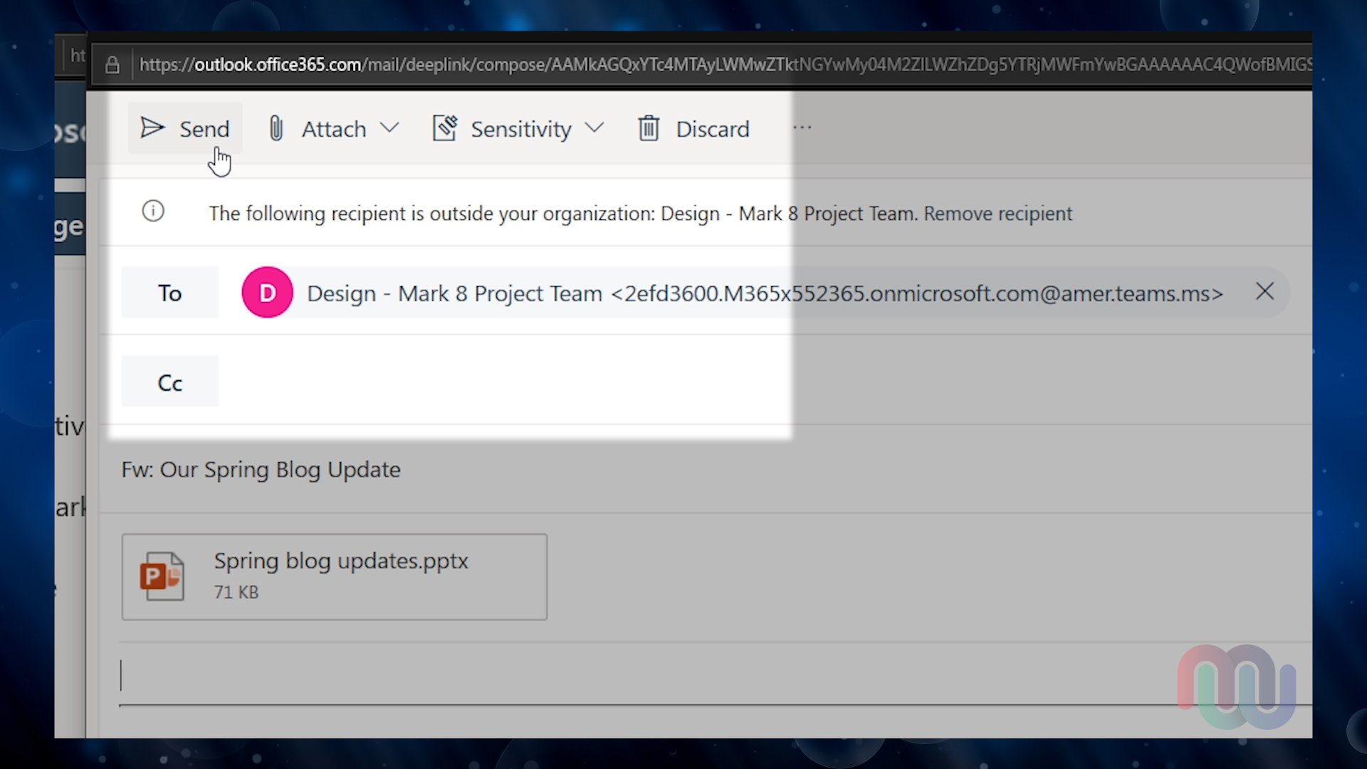 screenshot of emailing a Team Channel from Outlook on the Web