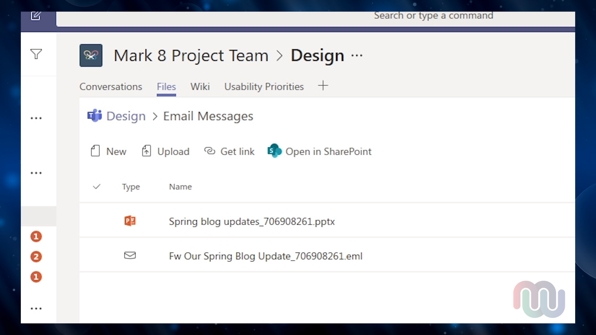Screenshot of Files tab in Team Channel where email attachments are saved