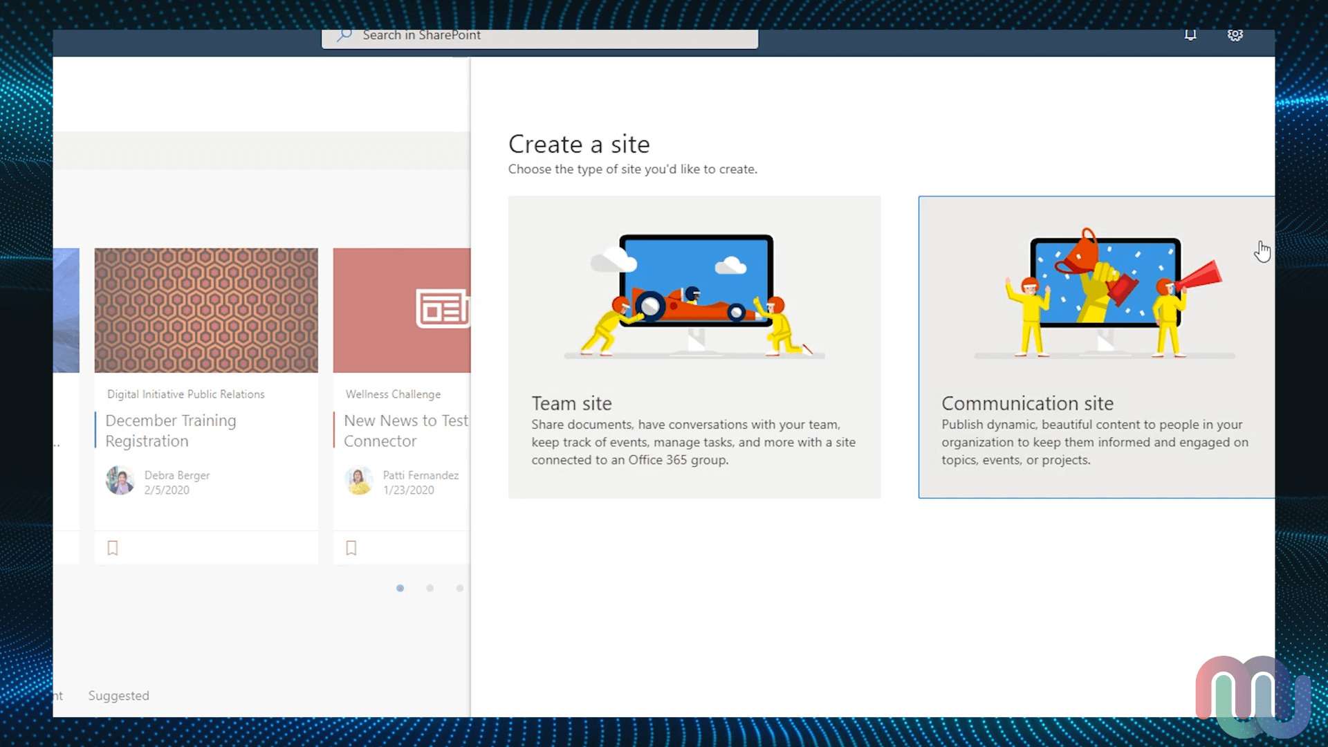 SharePoint Home - Create Site Menu