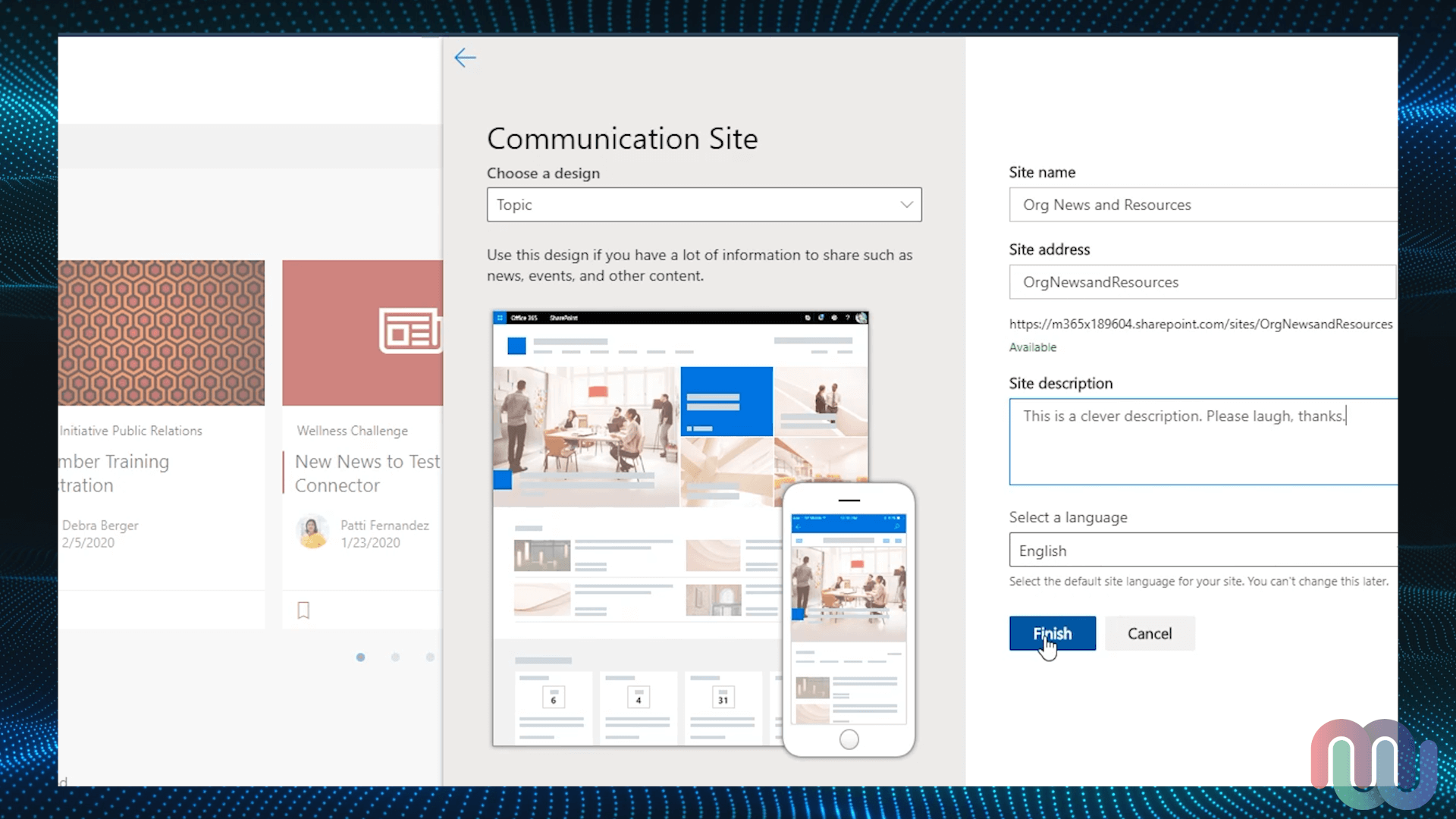 SharePoint Home - Communication Site template