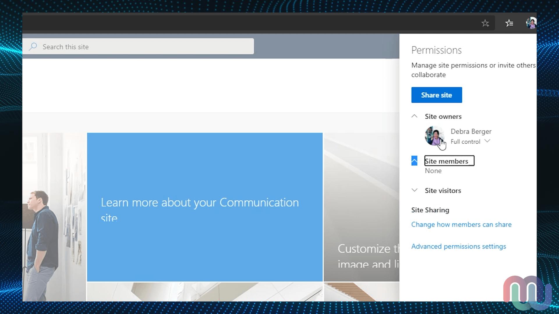 SharePoint Permissions menu