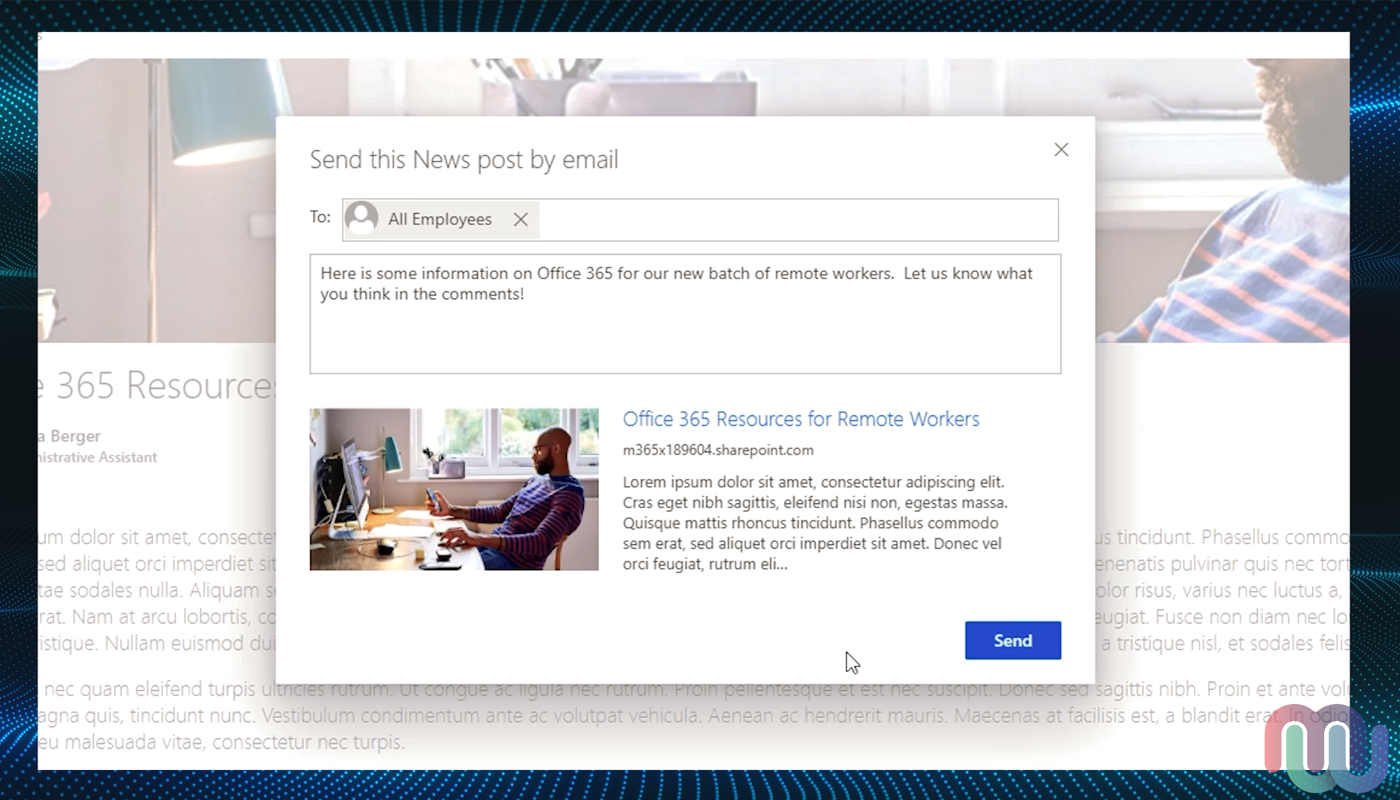 "SharePoint news page ""Send this News post by emaiL"" page with information filled out and thumbnail displayed"