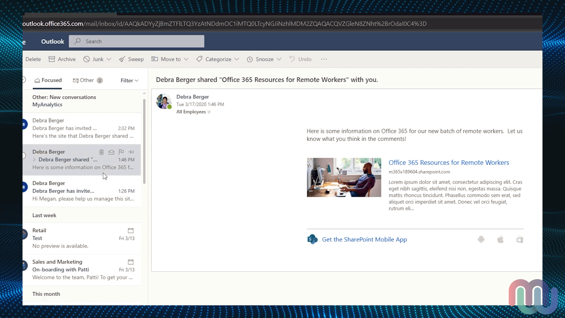 The email from SharePoint shown in Outlook on the Web